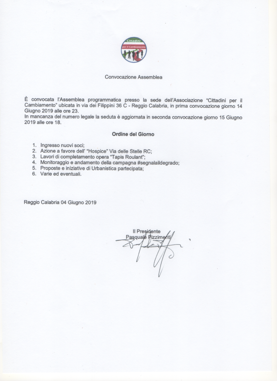 Convocazione Assemblea dei Soci 14 - 15 Giugno 2019 1