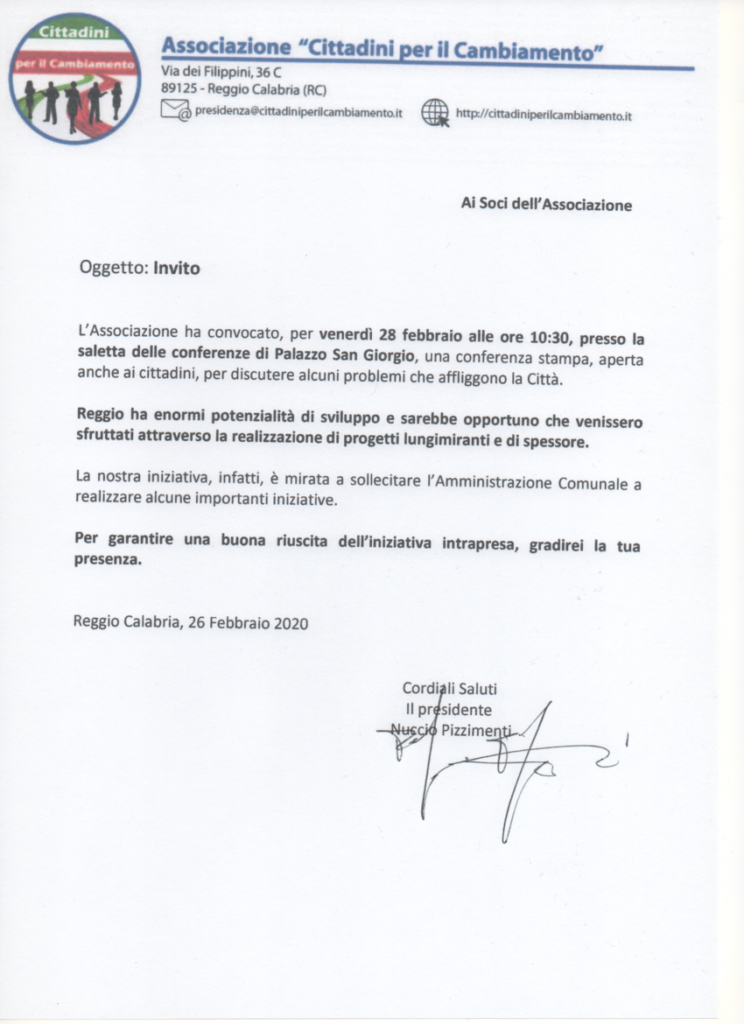 Comunicazione del Presidente 2