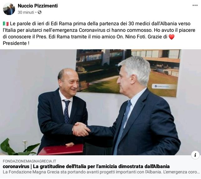 Profonda gratitudine per l'amicizia dimostrata dal popolo Albanese e dal Governo Rama 2