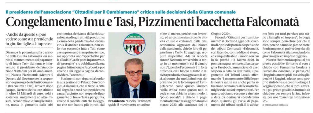 """IMU E TASI, Nuccio Pizzimenti, Pres.""""Cittadini per il Cambiamento"""" chiede al Sindaco Falcomatà, di adoperarsi per sospendere il pagamento. 2"""