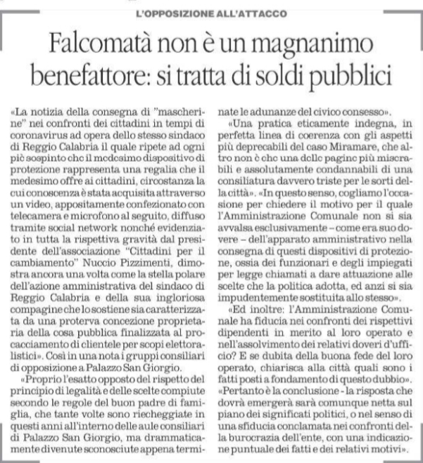 Nuccio Pizzimenti: I consiglieri Comunali del Centro-Destra del Comune di Reggio Calabria, sostegono la nostra iniziativa. 3