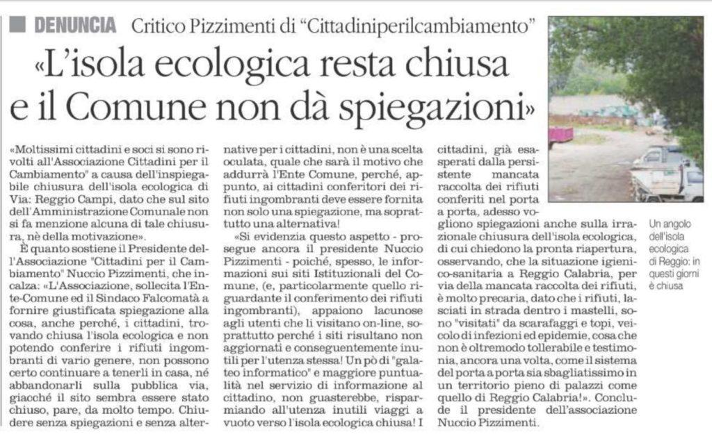 Reggio Calabria, Pizzimenti, raccolta rifiuti, riapre l'isola ecologica, in Via Reggio Campi. 3