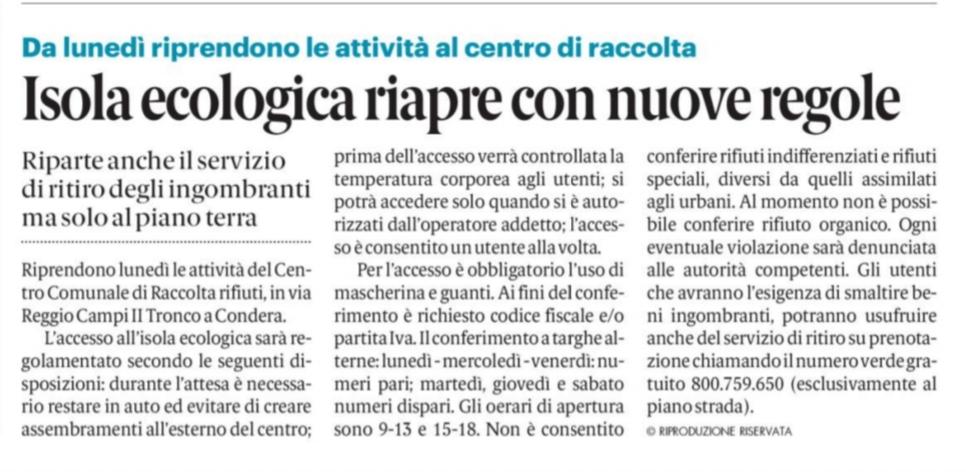 Reggio Calabria, Pizzimenti, raccolta rifiuti, riapre l'isola ecologica, in Via Reggio Campi. 4