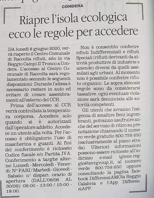 Reggio Calabria, Pizzimenti, raccolta rifiuti, riapre l'isola ecologica, in Via Reggio Campi. 2